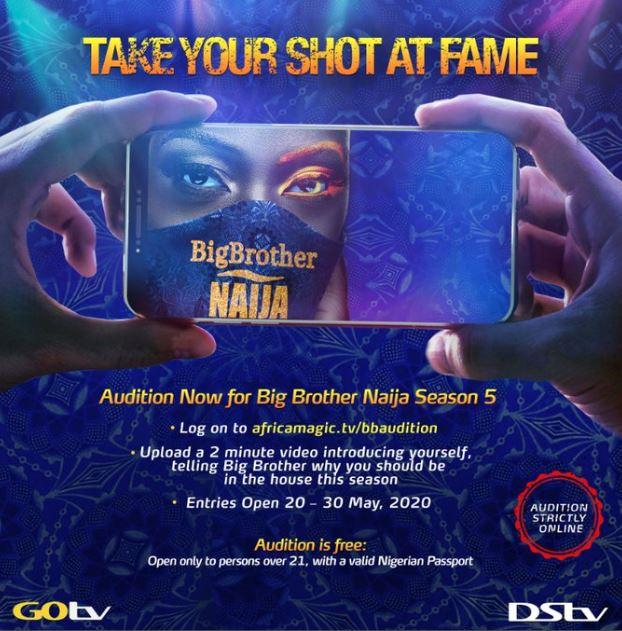 #BBNaija Season 5 Is Back! See How To Audition For Big Brother Naija 2020 Edition